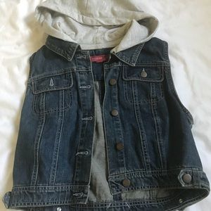 Jean vest with hood attached